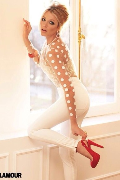 blake lively gossip girl blouse polka dot blouse