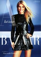 dress,sequin dress,sequins,gwyneth paltrow,editorial,little black dress