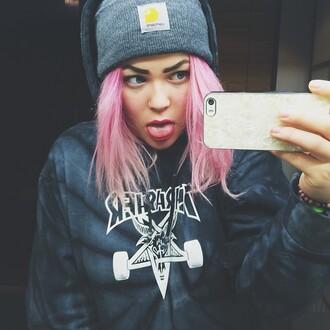 hat grey grey beanie pink hair thrasher carhartt