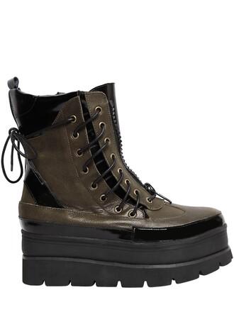 boots leather boots lace leather black khaki shoes