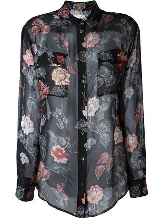 blouse sheer floral print black top