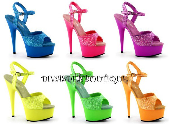 pump shoes glow in the dark sandals glitter shoes bling uv