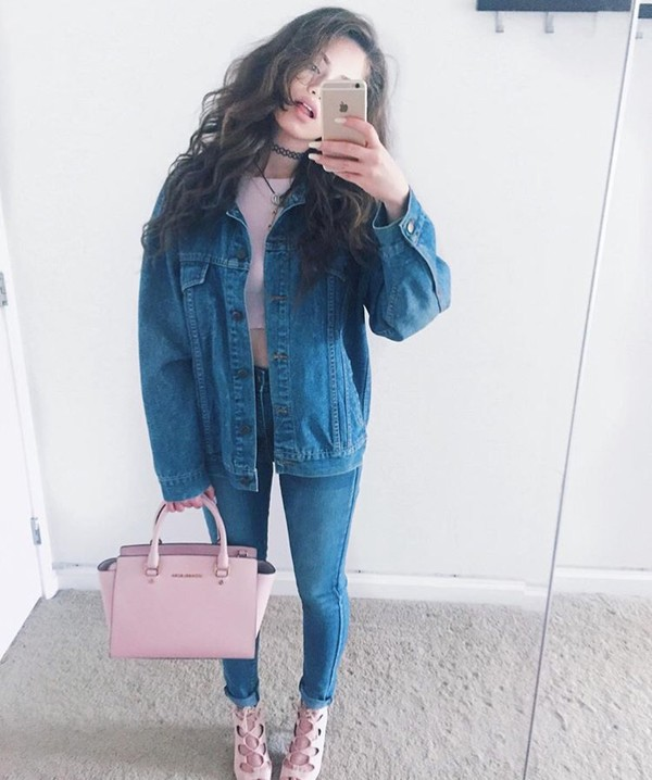 jacket denim bag shirt top choker necklace tattoo choker necklace jewels jeans pants high heels shoes pink blue dytto denim jacket michael kors rose gold