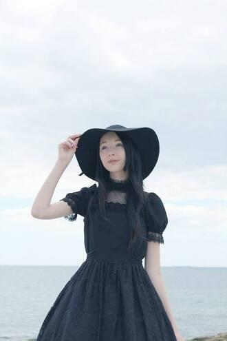 dress goth gothic lolita gothic dress black dress black hat black hat