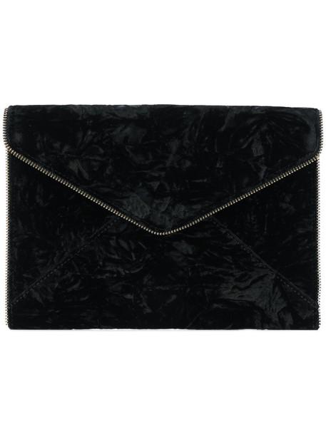 Rebecca Minkoff envelope clutch zip women bag clutch black velvet