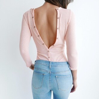 top bodysuit blush pink romper ootn date outfit open back sexy sexy top gojane