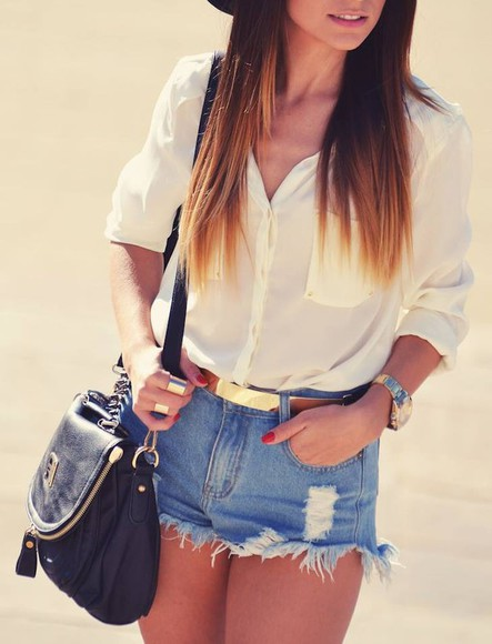 shorts watch blouse jewels bag ring bracelets