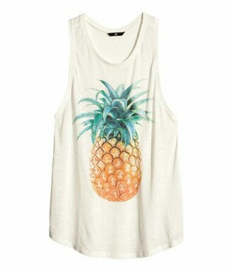 top white pineapple tank top pineapple shirt summer