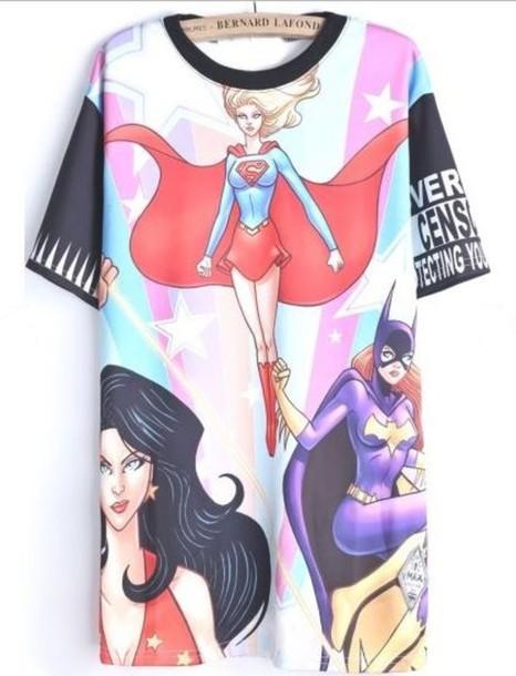 shirt superwoman print t-shirt