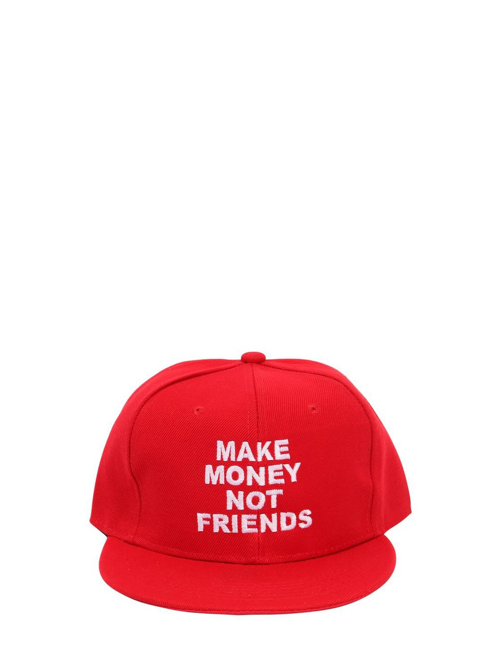 MAKE MONEY NOT FRIENDS Logo Embroidered Baseball Hat in red