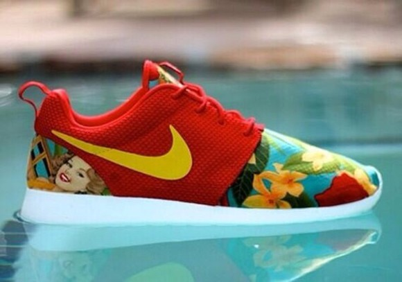 shoes flowers floral red nike roshe run nike red shoes island