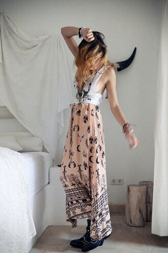 skirt maxi skirt pale pink boho moon
