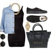 dress,outfit,black dress,jeanjacket,bag,shoes,jewels,sunglasses,jacket,watch