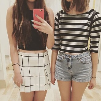 skirt shorts denim crop tops stripes cute top cropped summer black and white jeans denim shorts white crop tops black crop top striped top cute outfits cropped shirt summer outfits skater skirt pleated skirt black and white skirt shirt