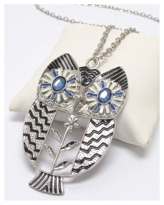 jewels long necklace owl sweater necklace