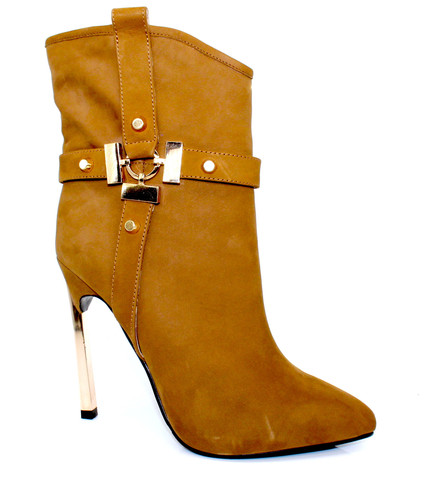 Fashion Footwear - Brown Suede 4 inch Heeled Boots