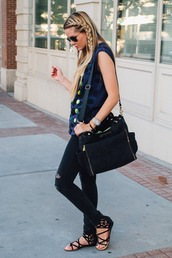barefoot blonde,jeans,hair/makeup inspo,braid,vest,black ripped jeans,messenger bag,back to school