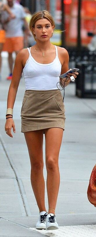 skirt top summer outfits hailey baldwin sneakers suede skirt