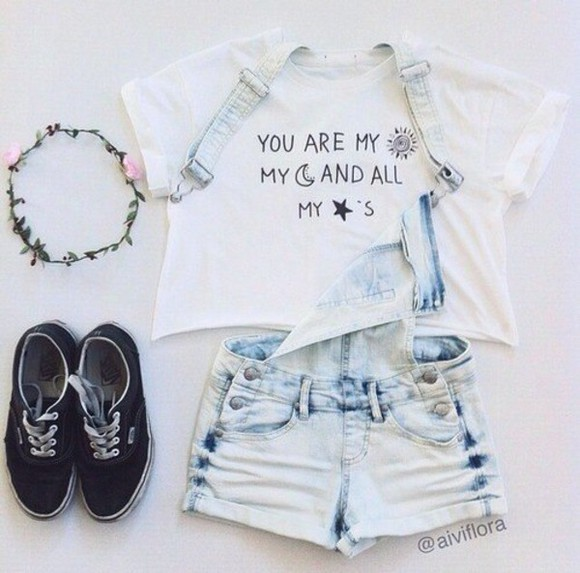 top overalls headband t-shirt sun moon stars shoes your my moon and my stars crop blouse hipster brandy melville