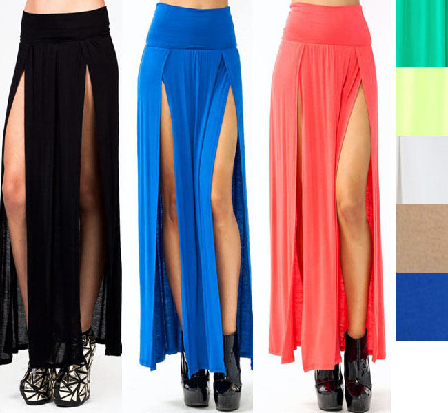 New popular trends high waisted double slits sexy women maxi skirt colorful