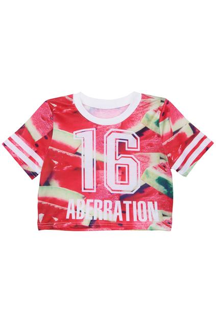'16 Aberration & Watermelon' Midriff T-shirt | Pariscoming
