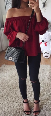 blouse,red,off-shoulder cropped top,off the shoulder,black bag,black,bag,top,burgundy