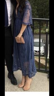 dress,blue,lace dress,vneck dress,midi dress,blue dress