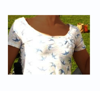 birds white t-shirt t-shirt swimwear blue t-shirt