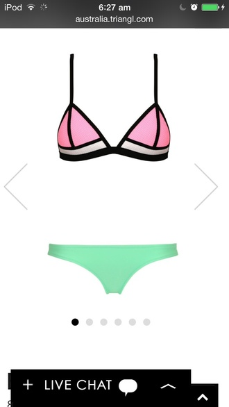 swimwear triangle new neoprene bikini straps mesh colour blocking neon neon pink black and white brand new style color blocking