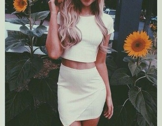 dress white two-piece white crop tops all white everything white skirt
