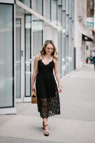 bows&sequins blogger dress bag shoes jewels lace dress black lace dress midi dress sandals high heel sandals