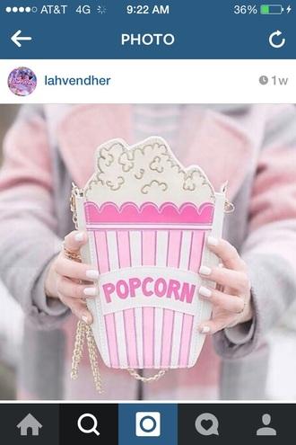 bag popcorn pink pastel pretty cute food purse