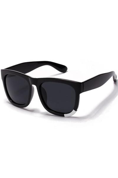 Black Metal Decor Square Tinted Lenses Sunglasses