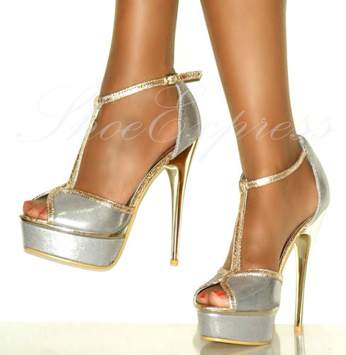 LADIES/SEXY!/silver gold detailed ANKLE STRAP HIGH HEEL PLATFORM SHOES SIZE 2-7 | Amazing Shoes UK