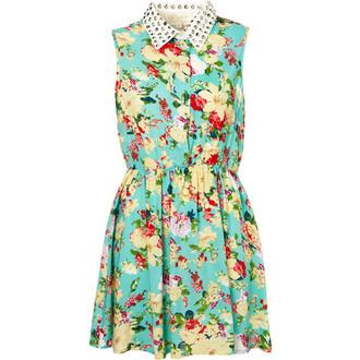 studs dress flower dress white collar golden studs studs collar
