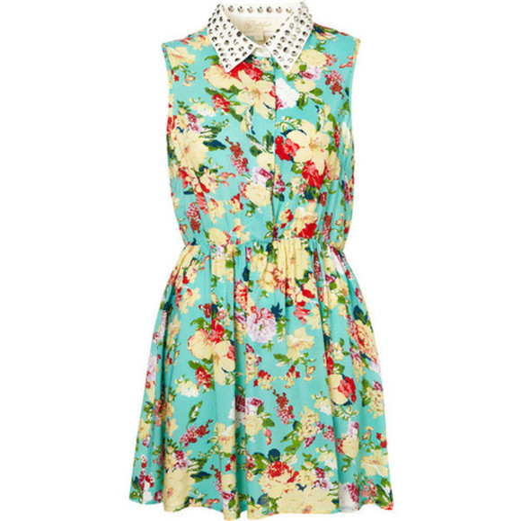white collar cute dress flower dress studs golden studs studs collar