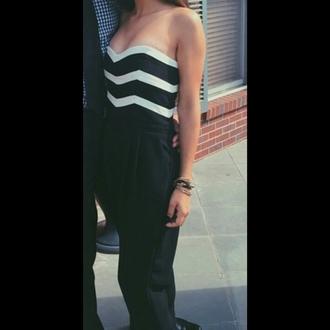 jumpsuit striped top black top white top black pants