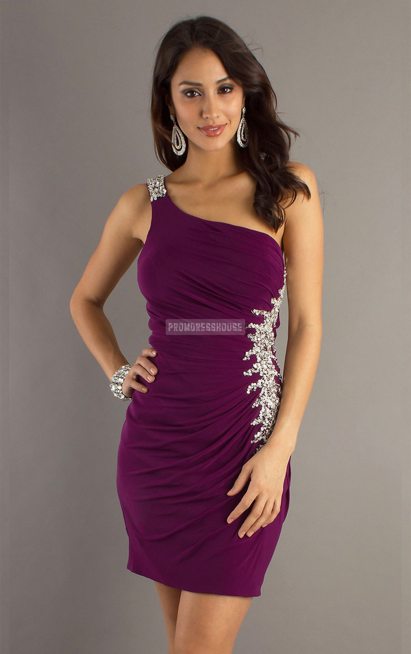 short dress fashion dress sexy dress purple dress cocktail dress prom dress beading chiffon