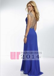 Royal blue rhinestone sheer back prom dress with leg slit [ml