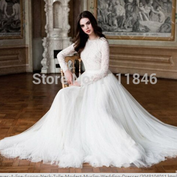 Dress Vinrage Wedding Dress Long Sleeve Wedding Dress Modest Wedding Gown