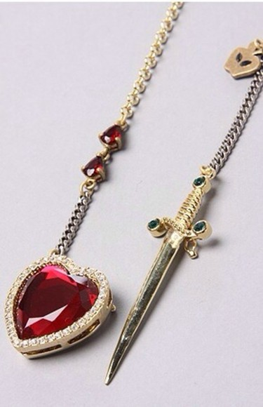 snow white jewels necklace heart sword