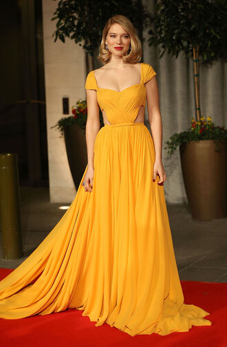 cut-out long dress prom léa seydoux yellow dress evening dress