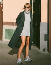 shoes,sneakers,new balance,grey sweater,grey sneakers,dress,sweater dress,turtleneck dress,turtleneck,coat,black coat,sunglasses