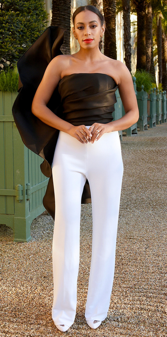 top pants black and white solange knowles jumpsuit strapless