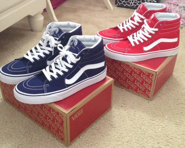 shoes vans blue hightops red cute vans sk8-hi d2d0e47fb