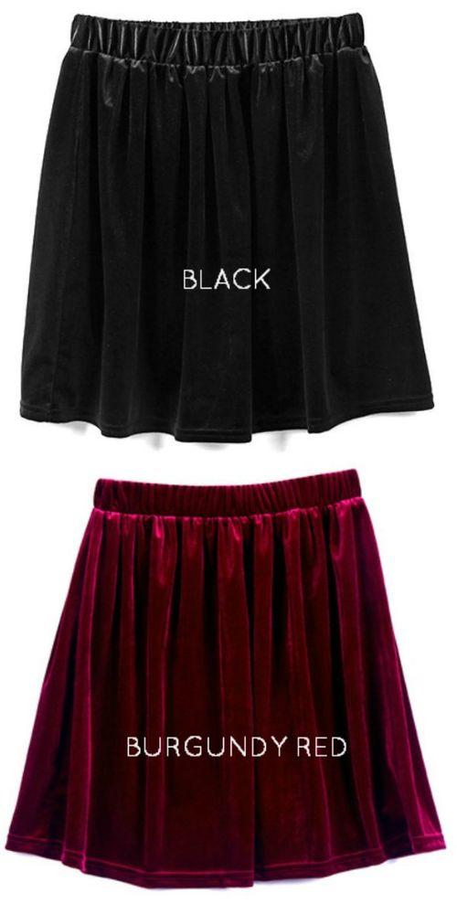 Lot 2 Velvet Skater Skirts - Black and Burgundy Wine Red Vintage Fashion Grunge