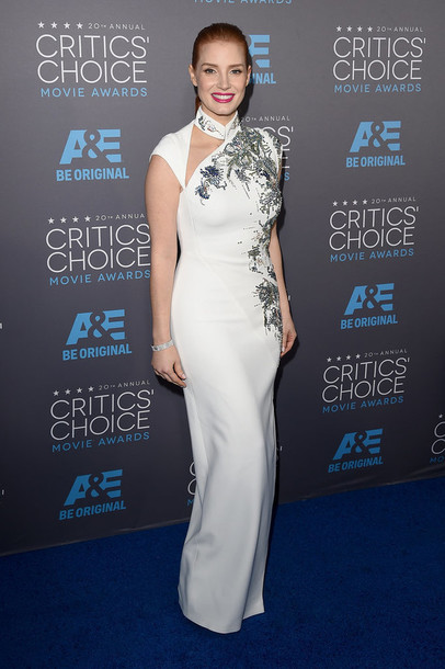 critics' choice movie awards jessica chastain gown white dress dress