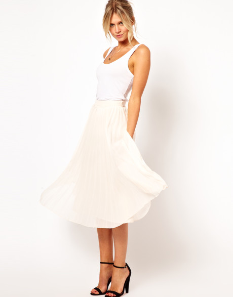 Asos Pleated Midi Skirt in Beige (Cream) | Lyst
