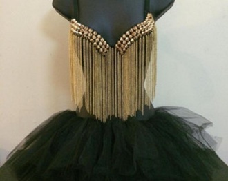 top black gold studs rave sexy rave clothes tutu rave outfit