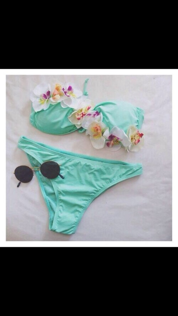 swimwear bikini cute flowers swimwear blue boho flowers bikini strapless green hipster cool swag sweatshirt storm trooper amazing